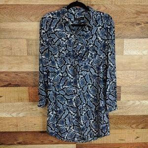 Banana Republic Blue SnakeSkin Print Dress 0